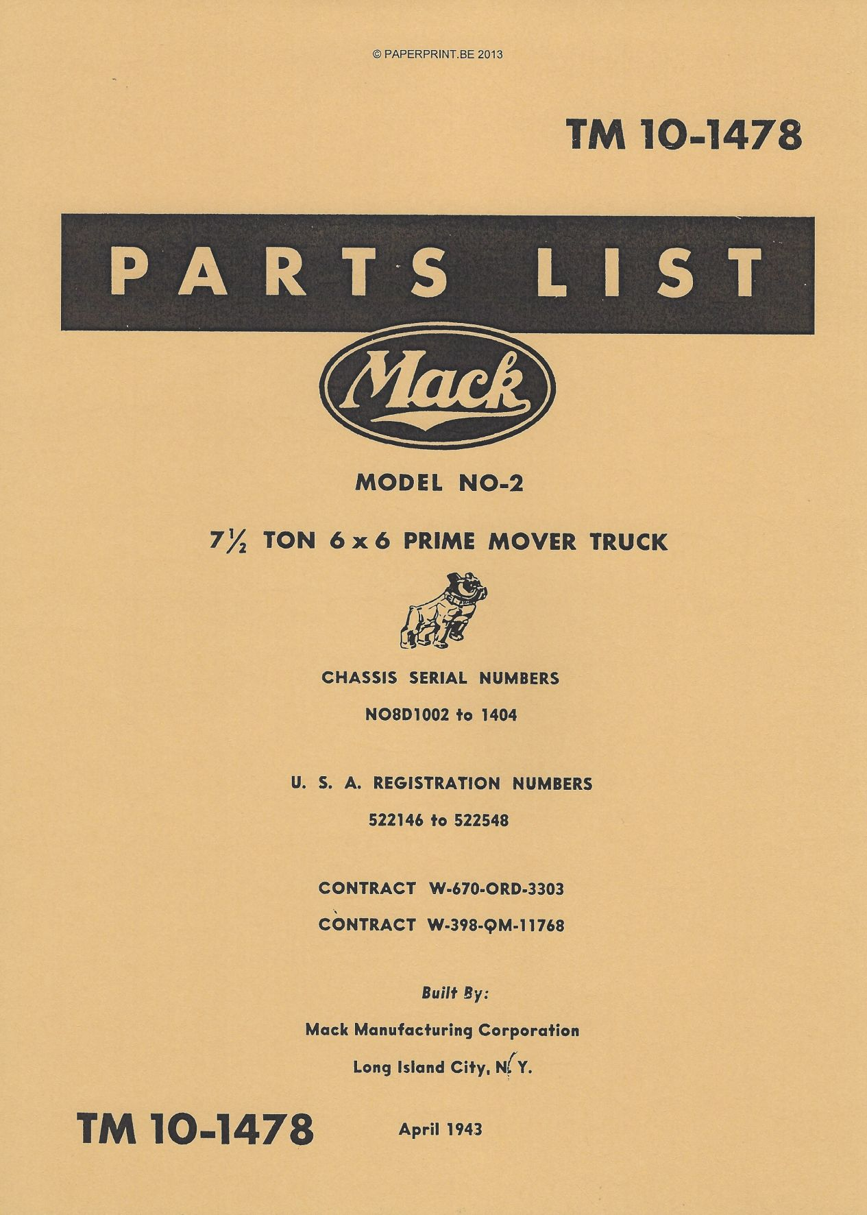 TM 10-1478 US PARTS LIST FOR 7 ½ - TON  6x6 PRIME MOVER TRUCK (MACK NO-2)