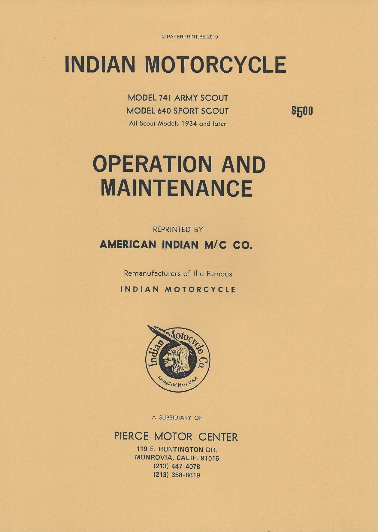 TM 10-1485 US INDIAN 741 AND 640 OPERATION AND MAINTENANCE MANUAL