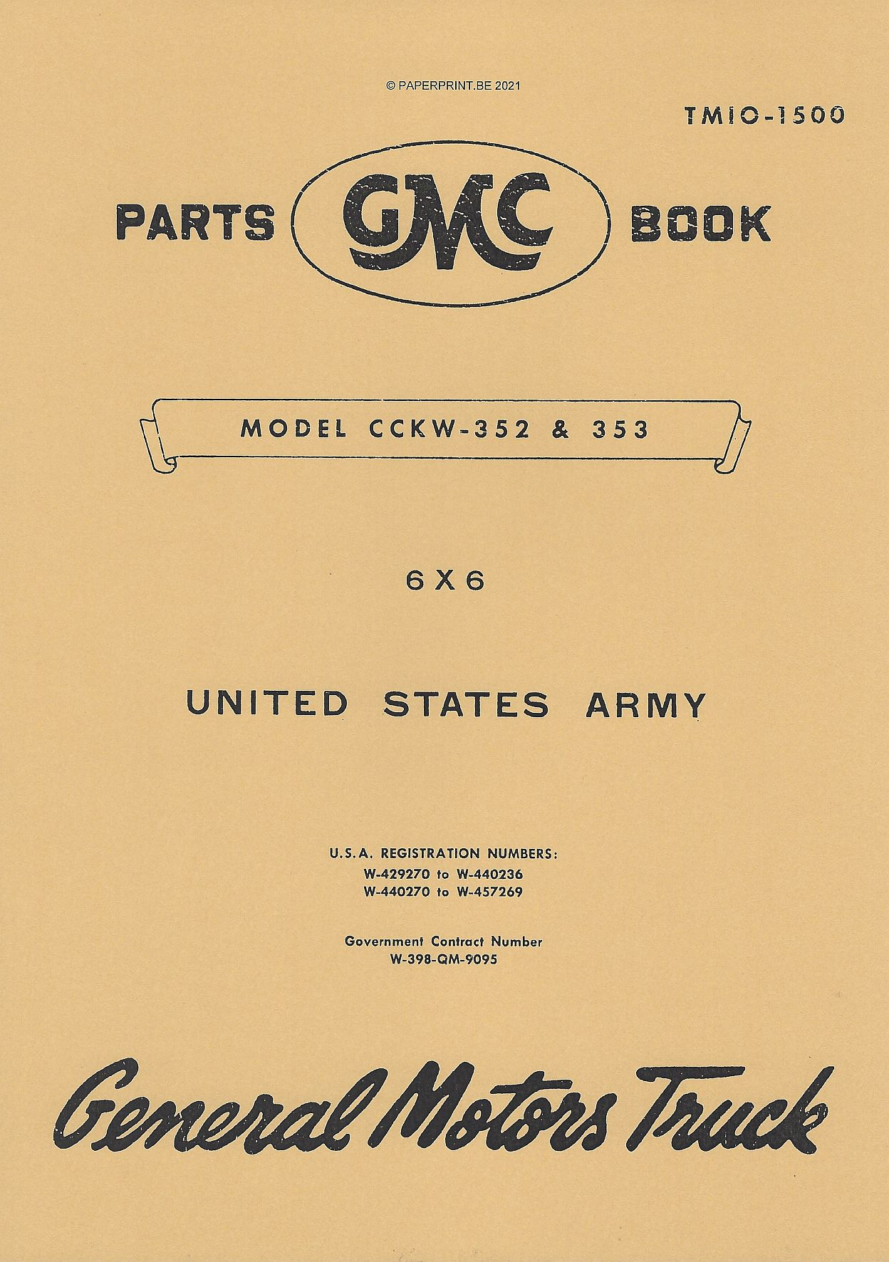 TM 10-1500 US GMC CCKW-352 & CCKW-353 PARTS BOOK