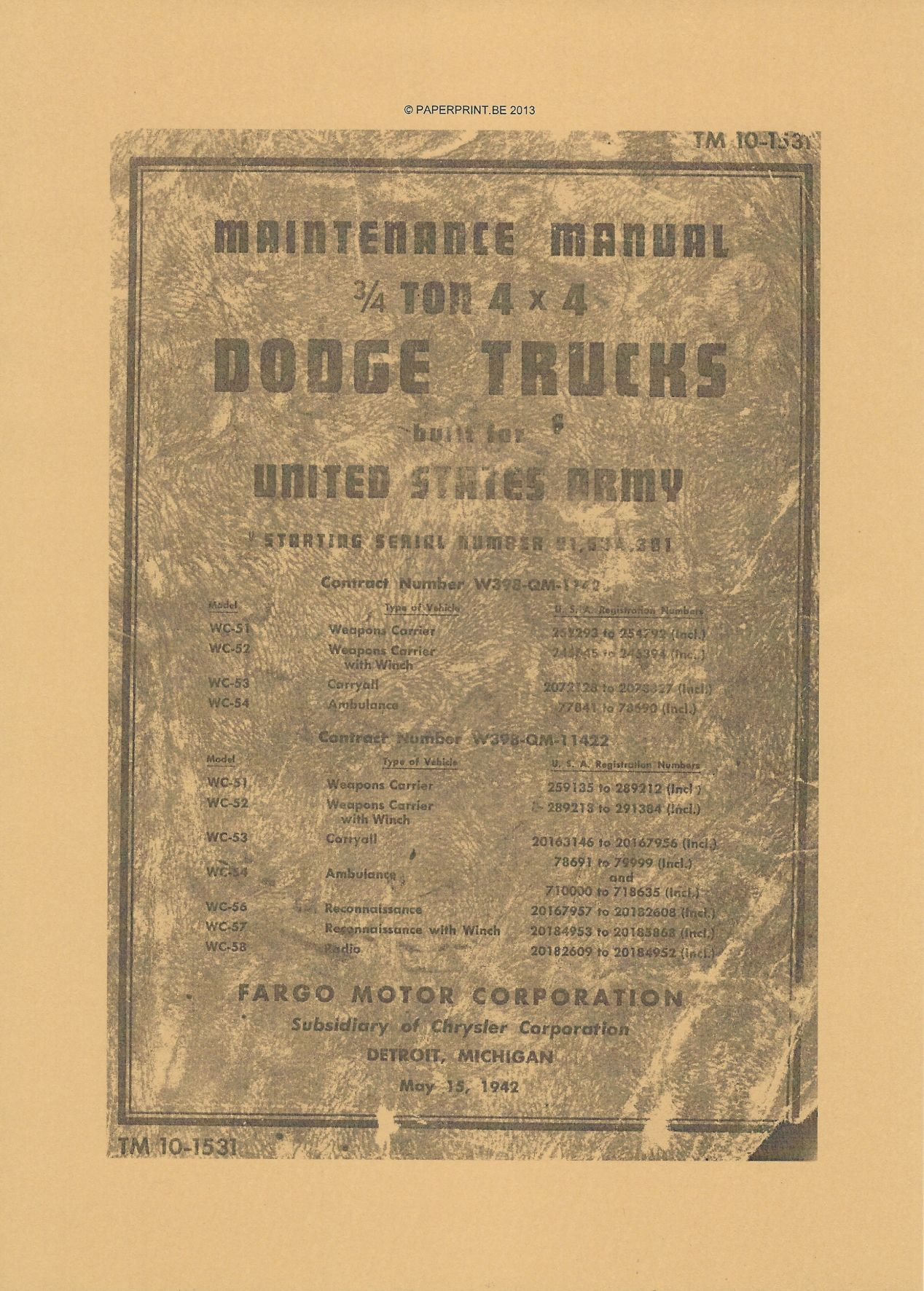 TM 10-1531 US MAINTENANCE MANUAL ¾ TON 4x4 DODGE TRUCKS