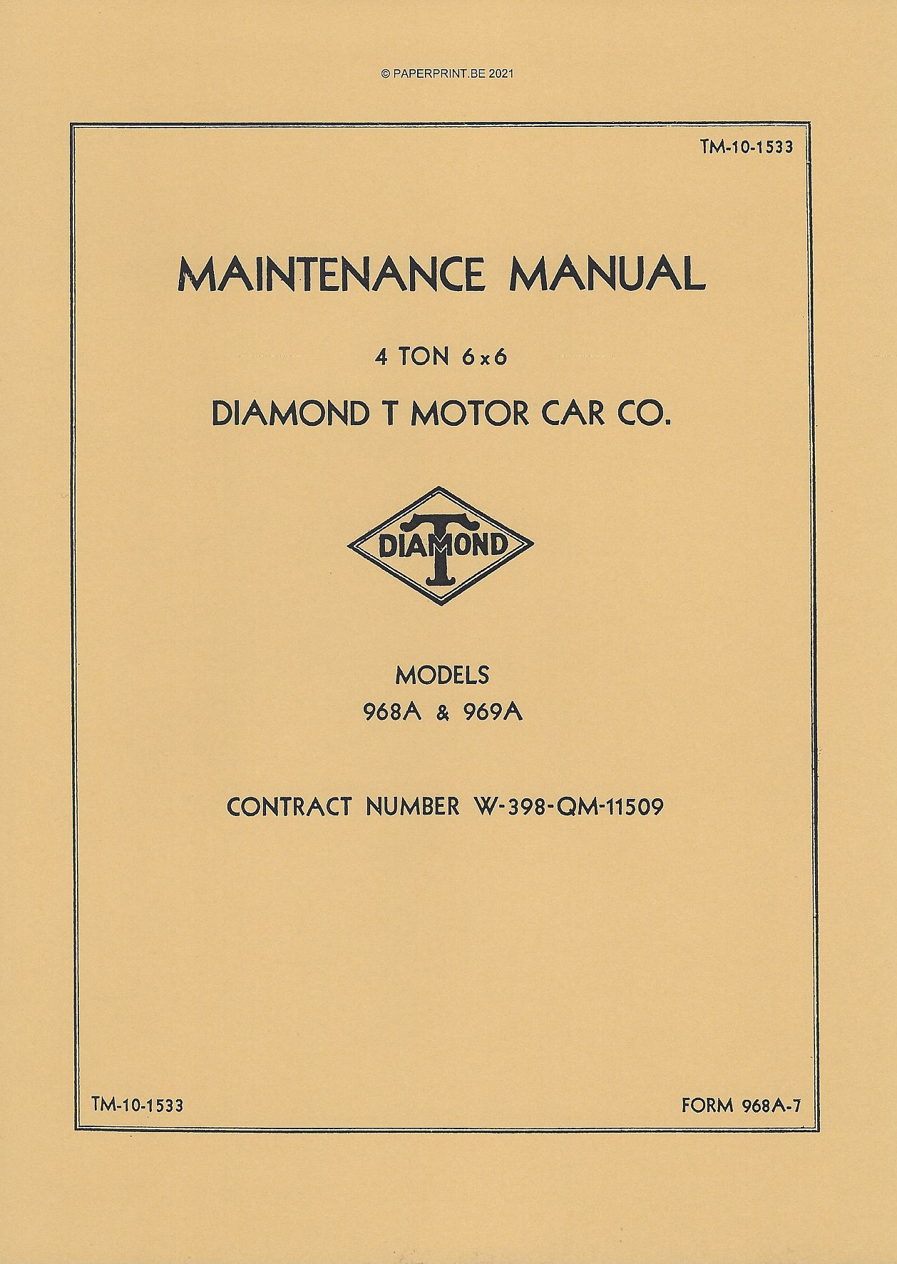 TM 10-1533 US DIAMOND T 968A & 969A MAINTENANCE MANUAL