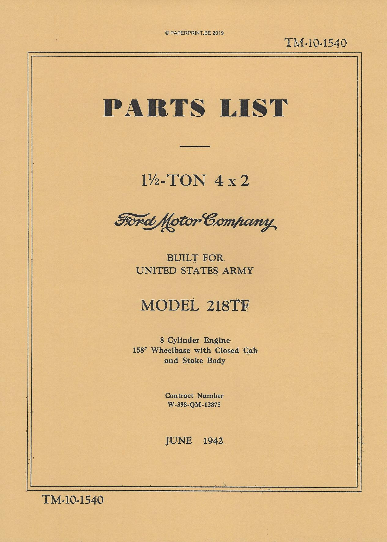 TM 10-1540 US FORD 1 ½ TON 4x2 MODEL 218TF PARTS LIST