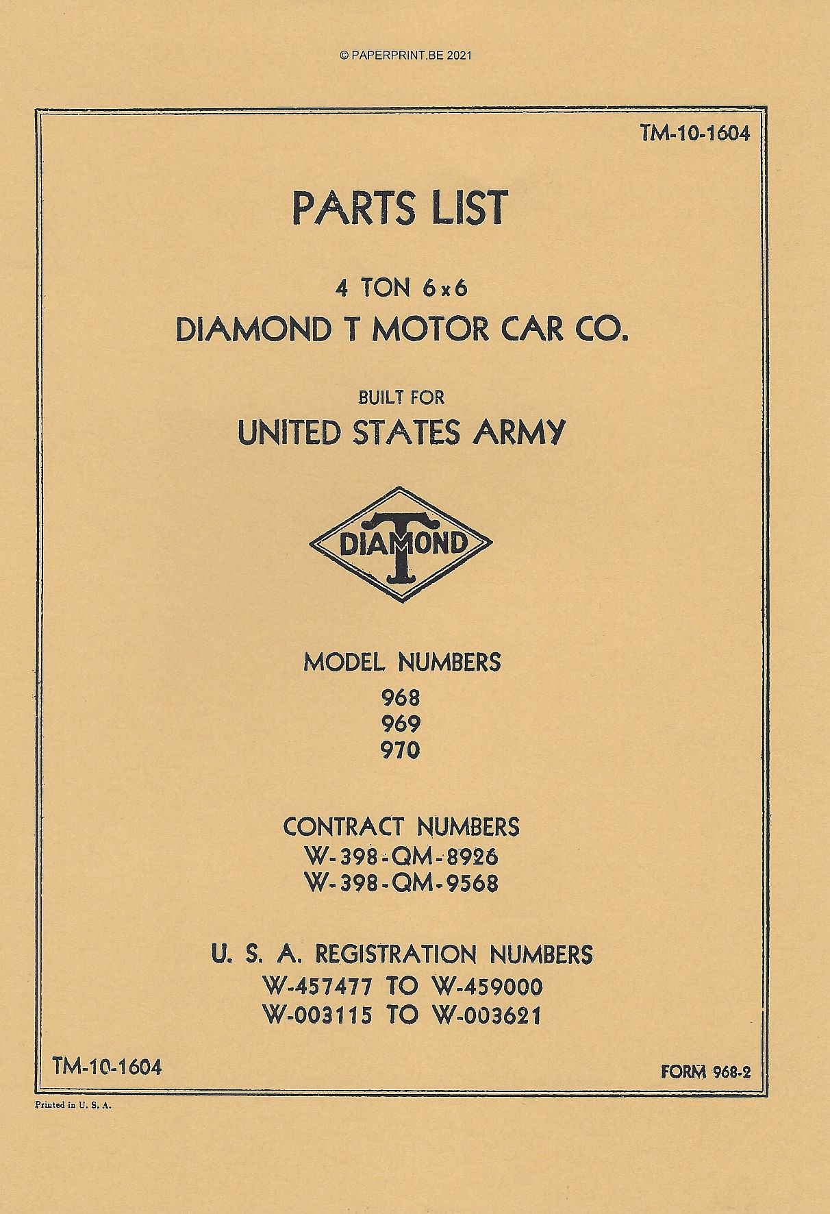 TM 10-1604 US DIAMOND T 968 969 970 PARTS LIST