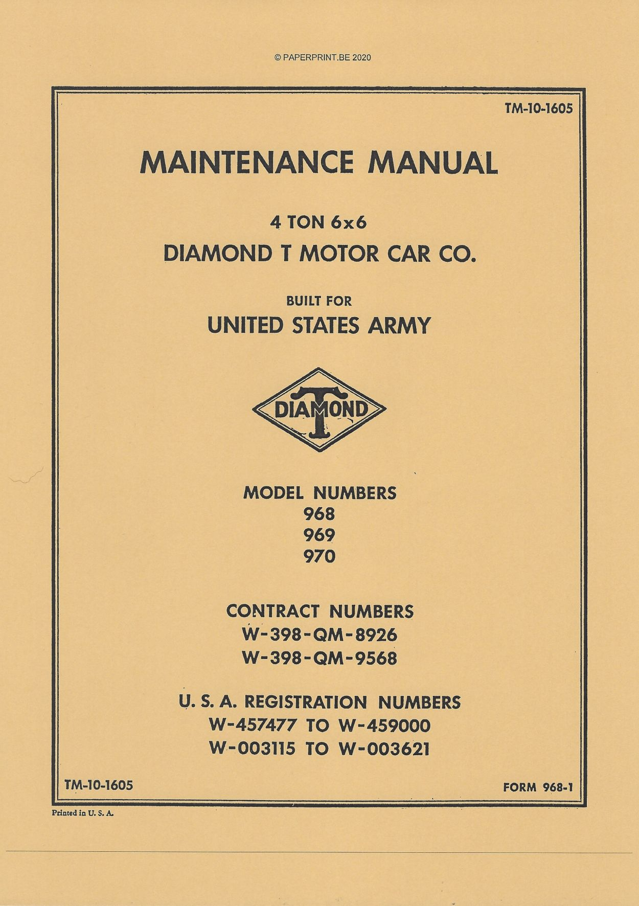 TM 10-1605 US DIAMOND T 4 TON 6x6 TRUCK MAINTENANCE MANUAL