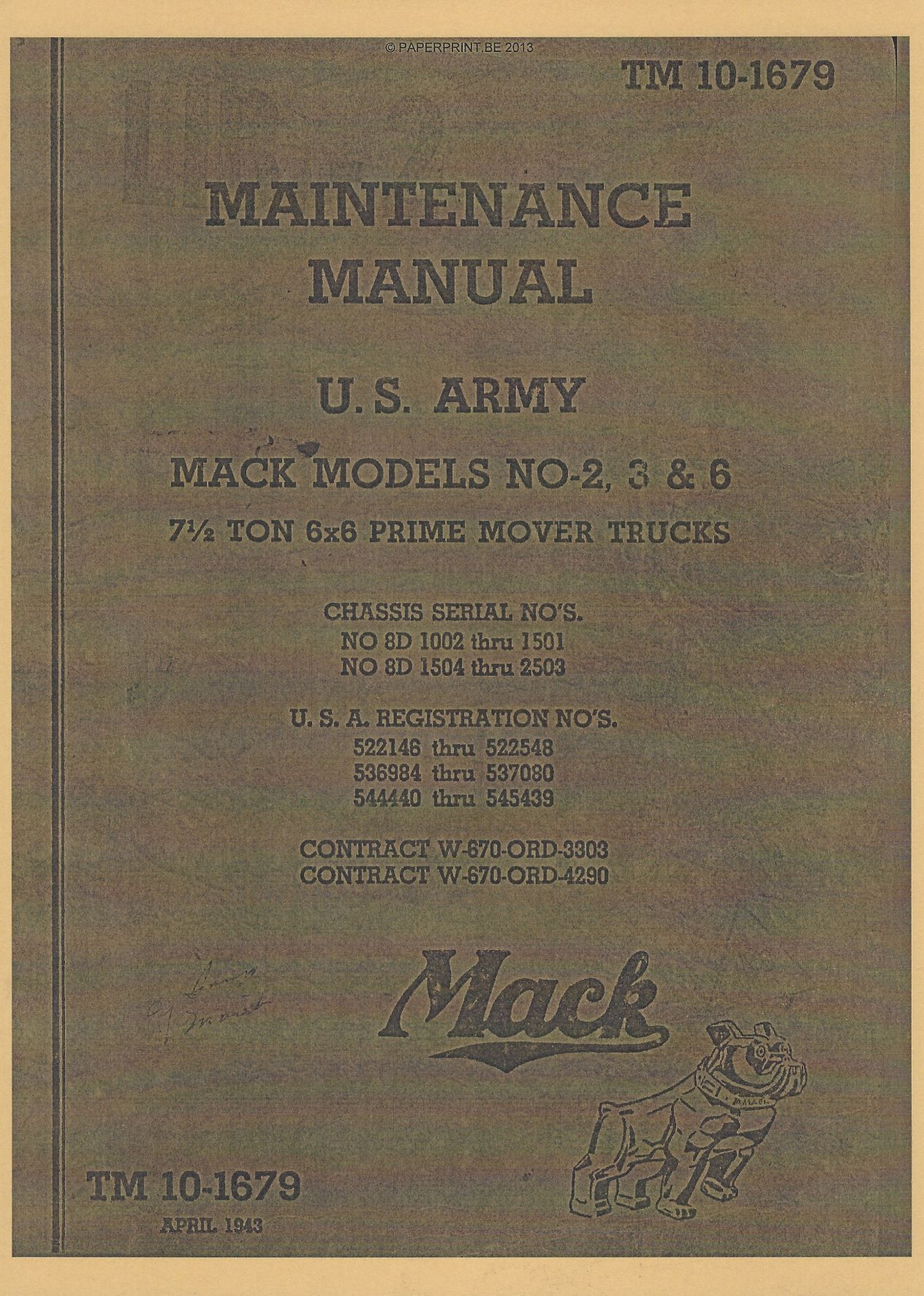 TM 10-1679 US MAINTENANCE MANUAL MACK MODELS NO-2, 3 & 6