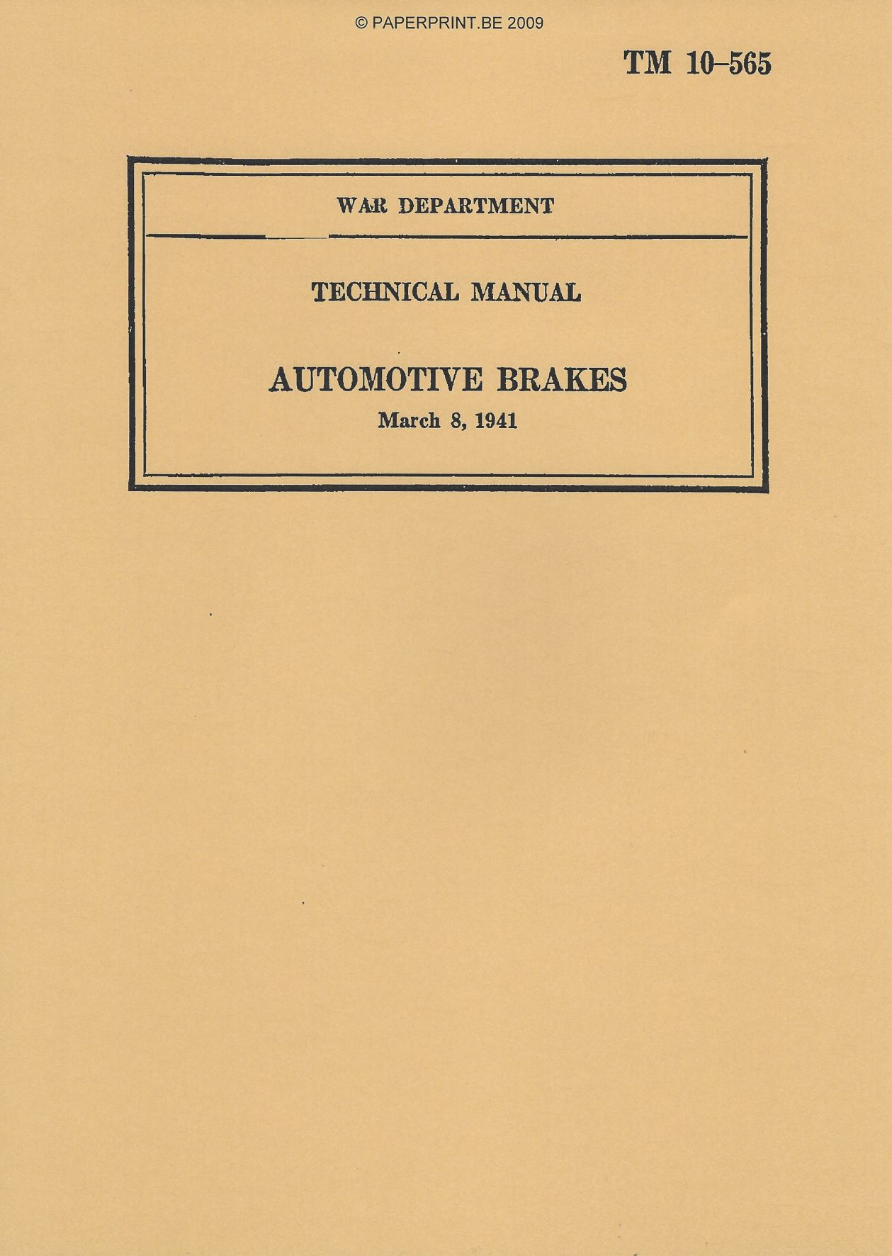 TM 10-565 US AUTOMOTIVE BRAKES