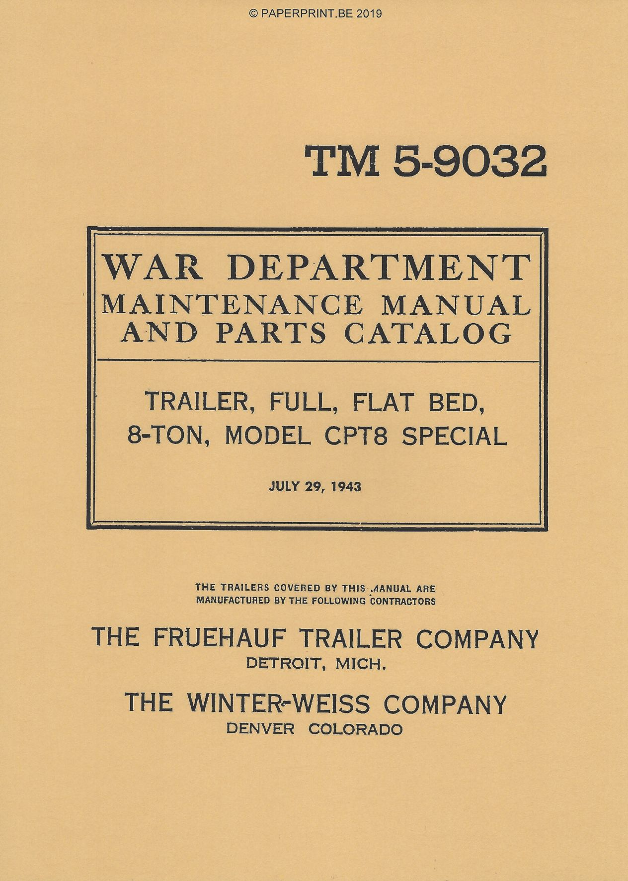 TM 5-9032 US 8-TON CPT8 TRAILER MAINTENANCE MANUAL AND PARTS CATALOG