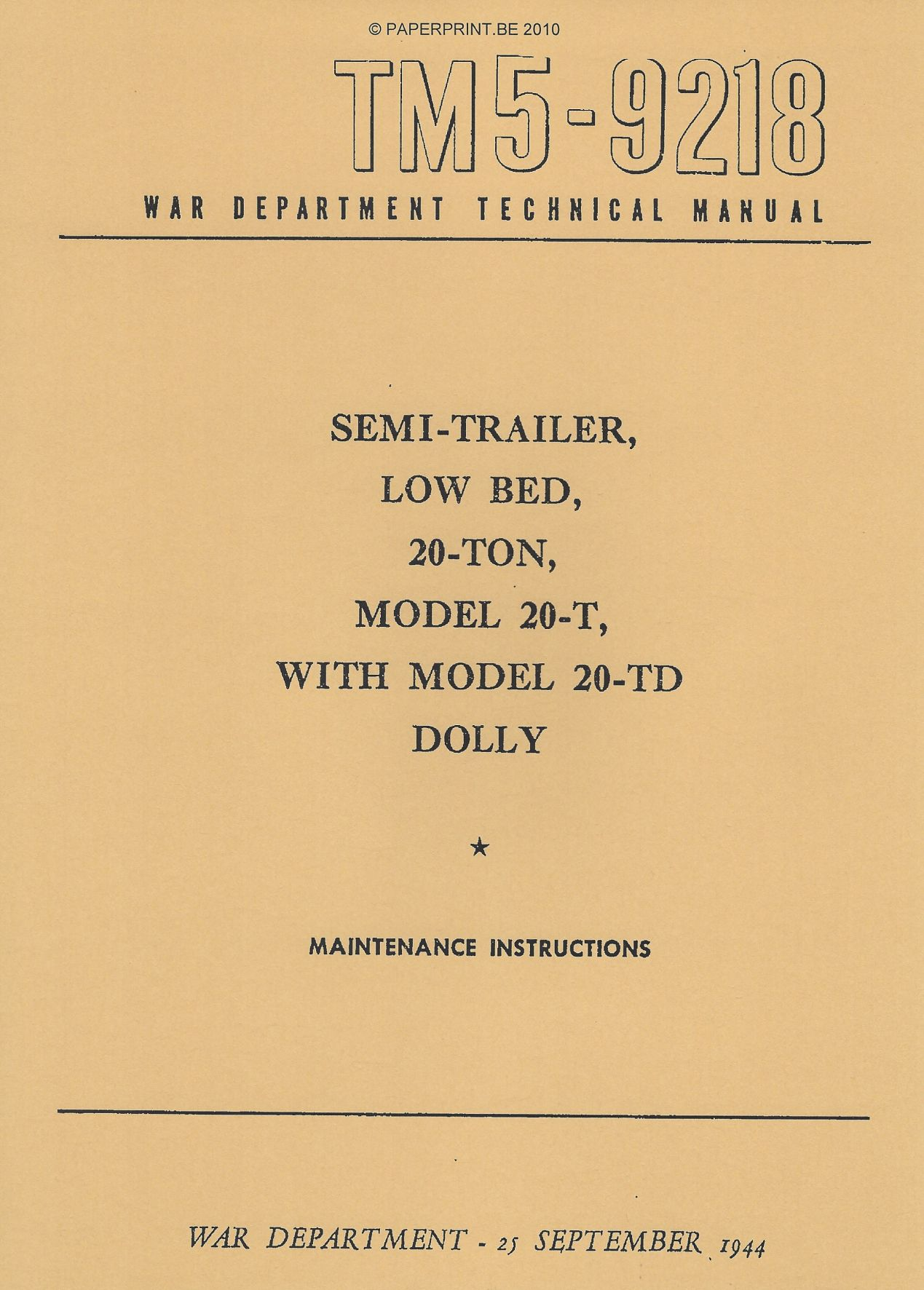 TM 5-9218 US SEMI-TRAILER, LOW BED, 20-TON, MODEL 20-T WITH MODEL 20-TD DOLLY