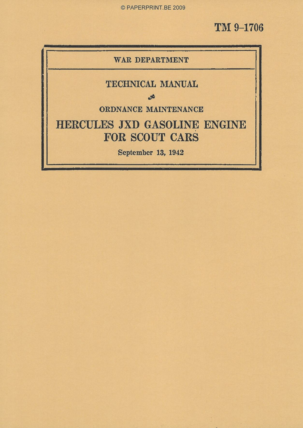 TM 9-1706 US HERCULES JXD GASOLINE ENGINE FOR SCOUT CARS