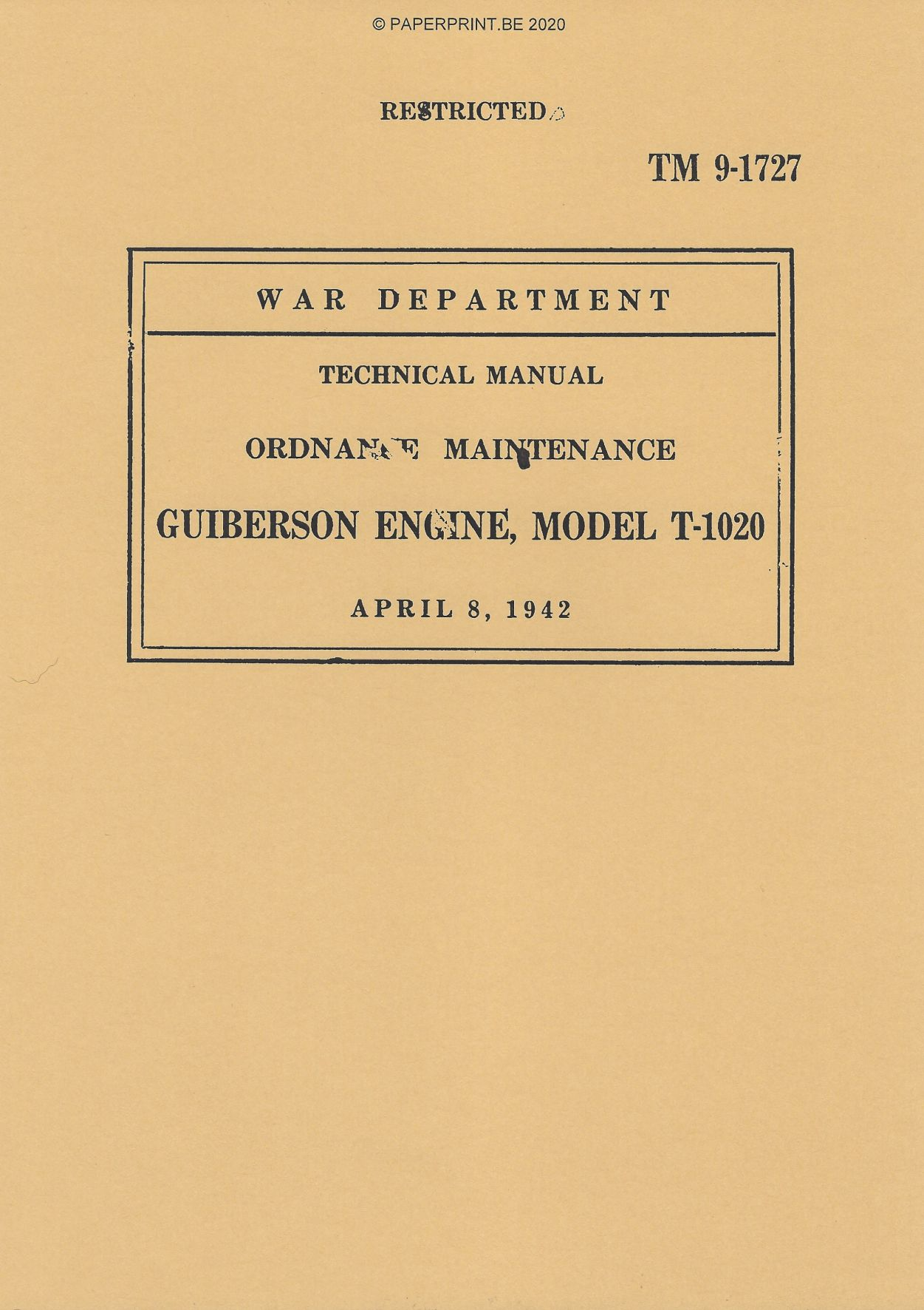 TM 9-1727 US GUIBERSON ENGINE, MODEL T-1020