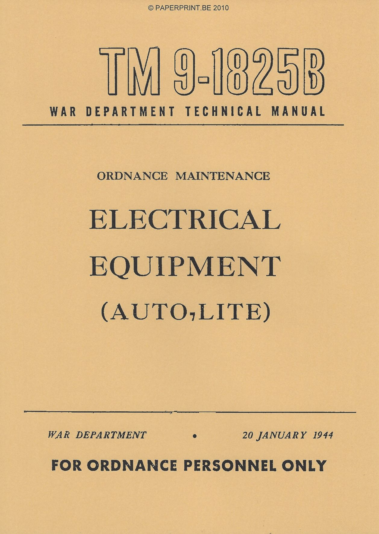 TM 9-1825B US ELECTRICAL EQUIPMENT (AUTO-LITE)