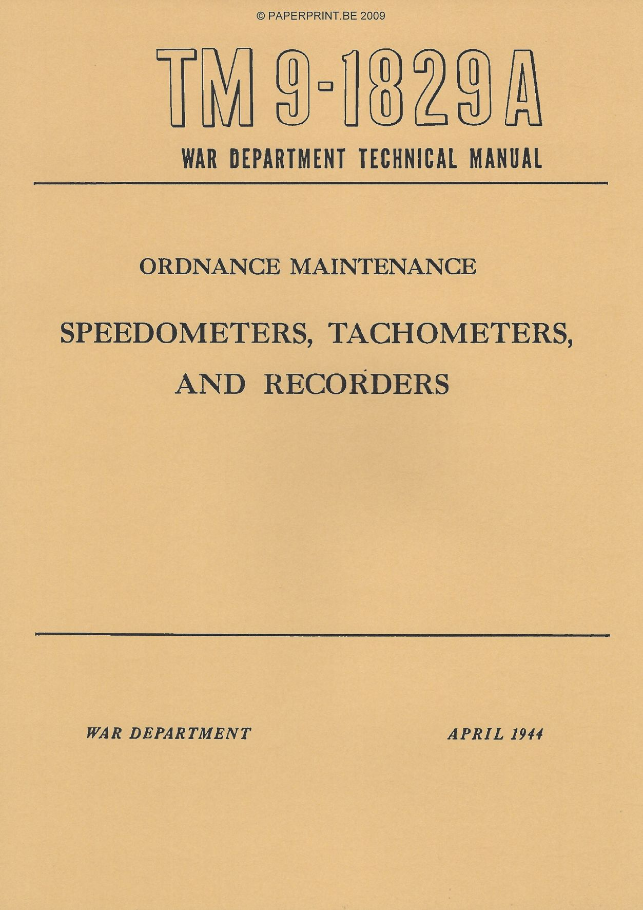 TM 9-1829A US SPEEDOMETERS, TACHOMETERS, AND RECORDERS