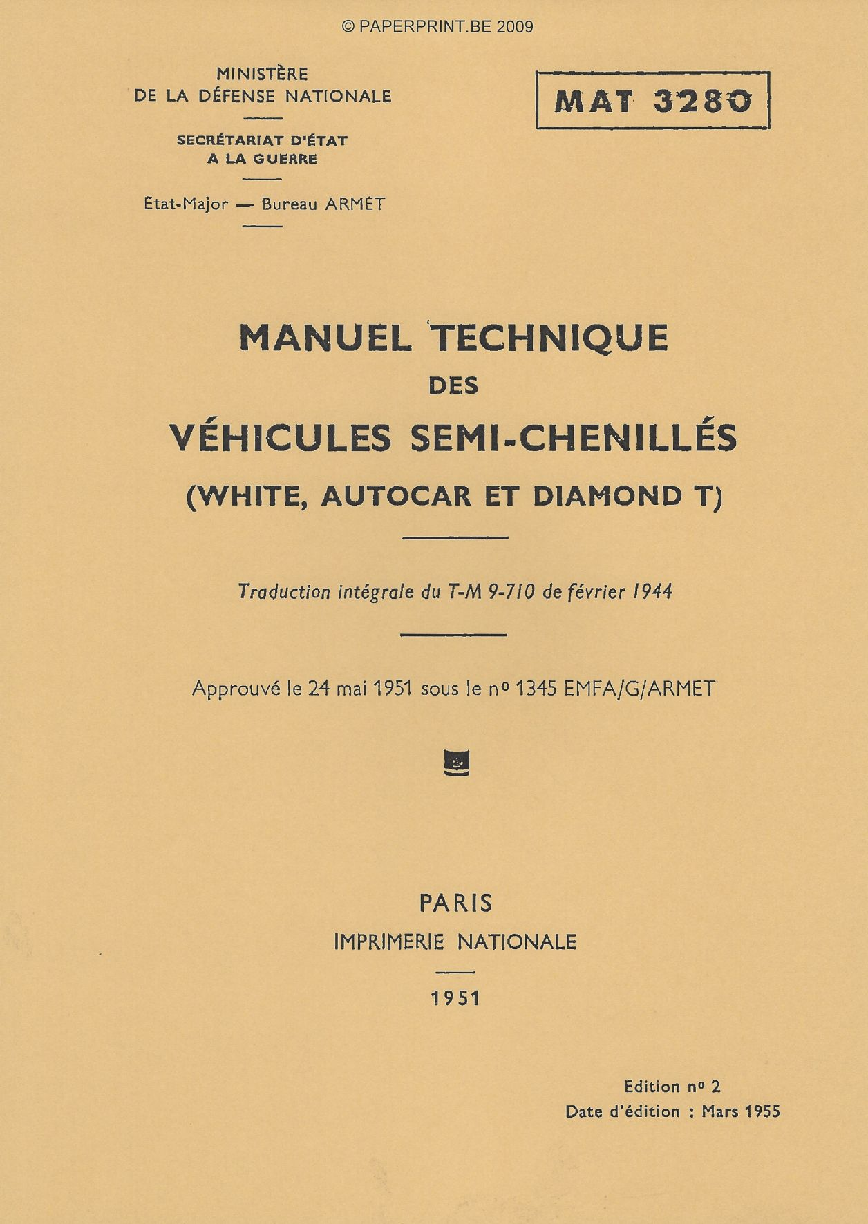 TM 9-710 FR VEHICULES SEMI-CHENILLES (WHITE, AUTOCAR ET DIAMOND T)