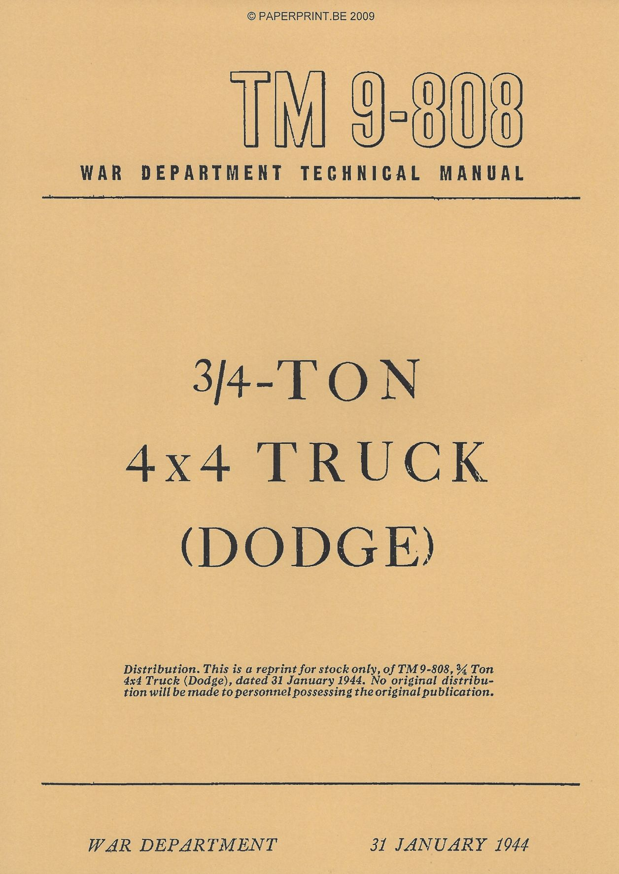 TM 9-808 1944 US ¾ - TON 4x4 TRUCK
