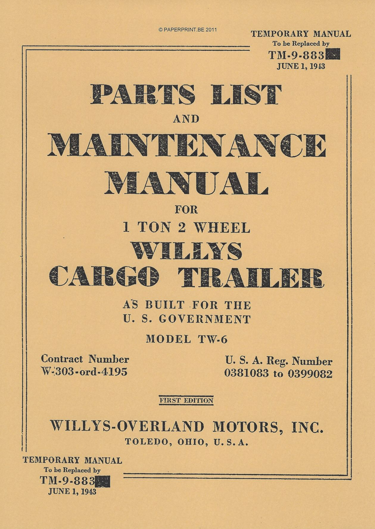 TM 9-883 US 1 TON 2 WHEEL WILLYS CARGO