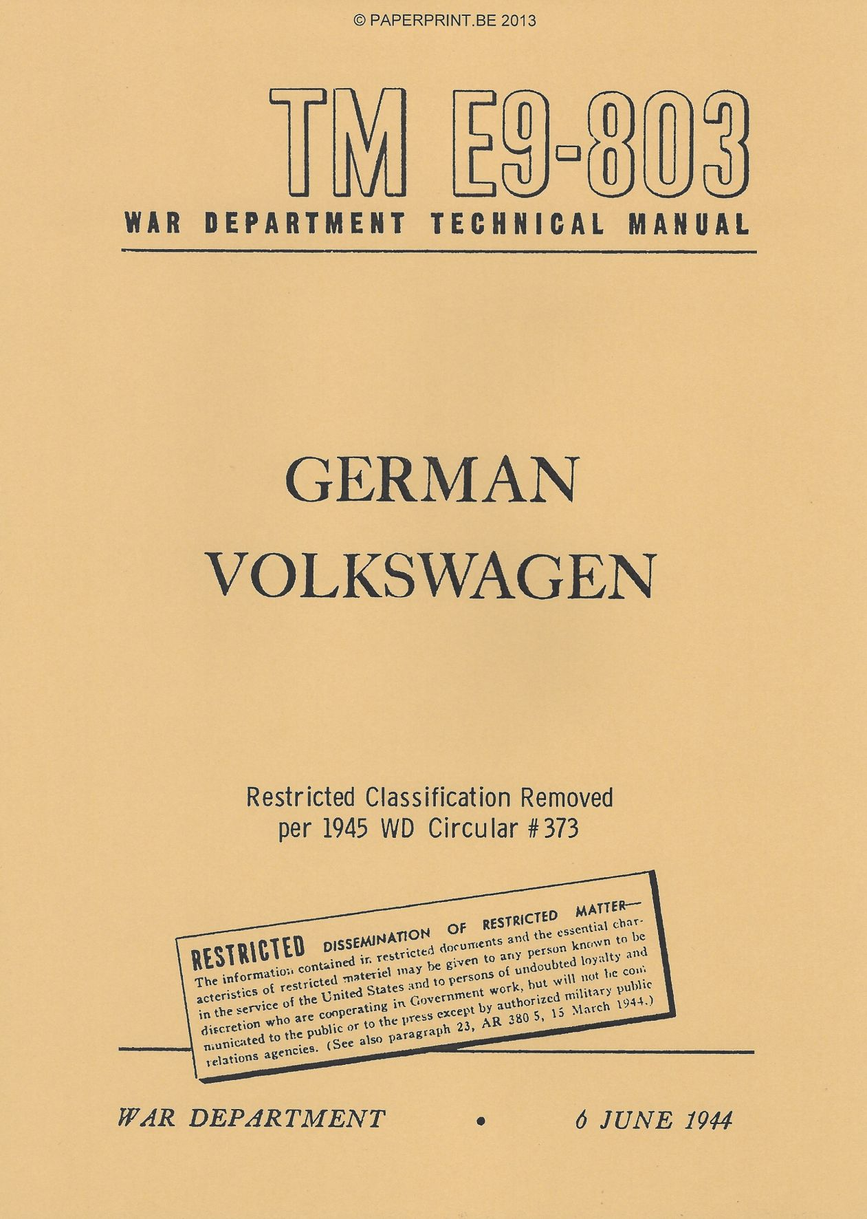 TM E9-803 GERMAN VOLKSWAGEN US