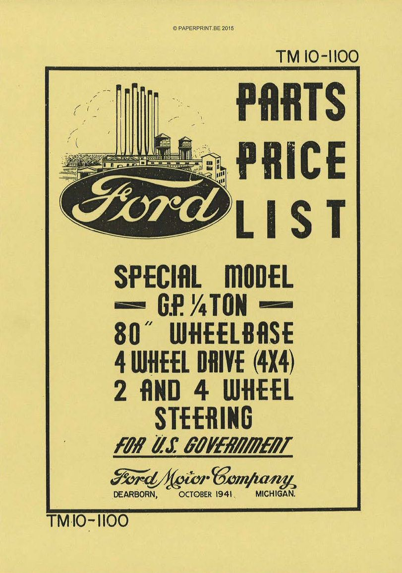 TM 10-1100 US FORD GP PART PRICE LIST