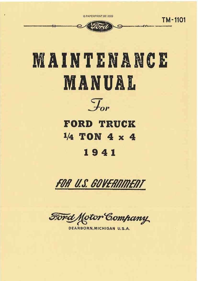 TM 10-1101 US MAINTENANCE MANUAL FOR  FORD TRUCK  ¼ TON 4x4 MODEL GP