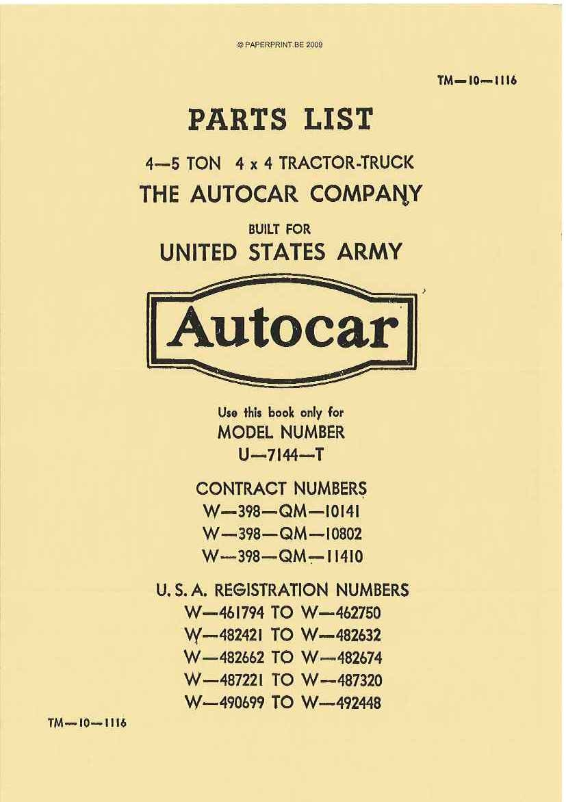 TM 10-1116 US PARTS LIST 4-5 TON 4x4 TRACTOR TRUCK