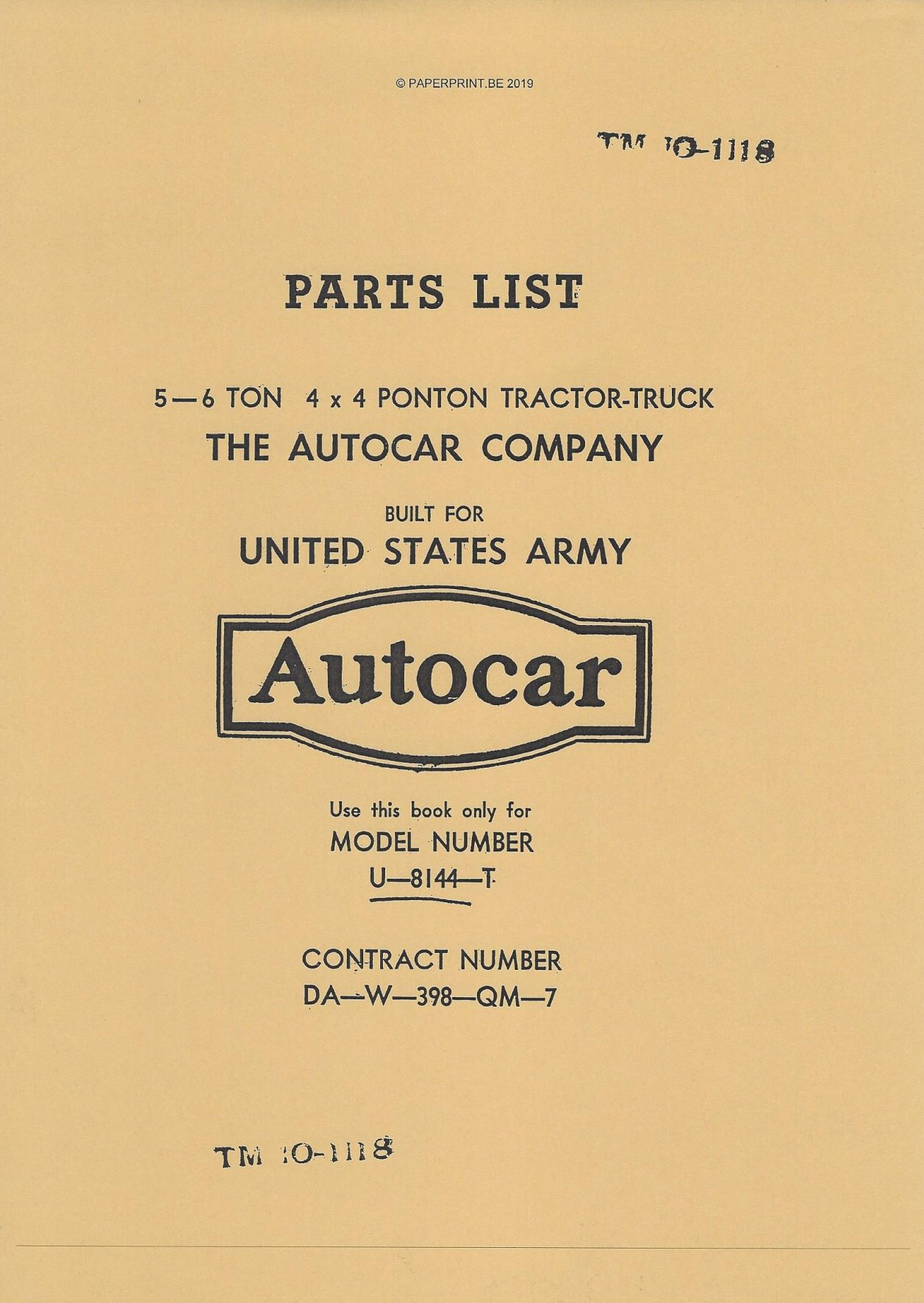 TM 10-1118 US AUTOCAR U-8144-T PARTS LIST