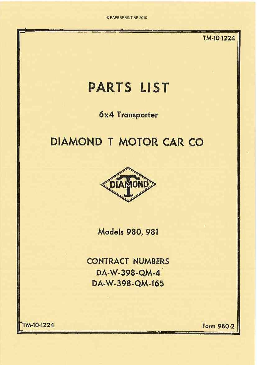 TM 10-1224 US PARTS LIST FOR 6x4 TRANSPORTER DIAMOND T MOTOR CAR CO MODELS 980, 981