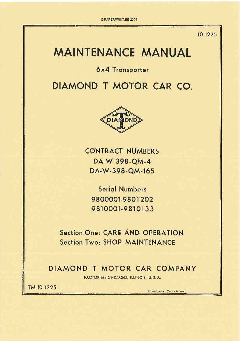 TM 10-1225 US 6x4 TRANSPORTER DIAMOND T MOTOR CAR CO