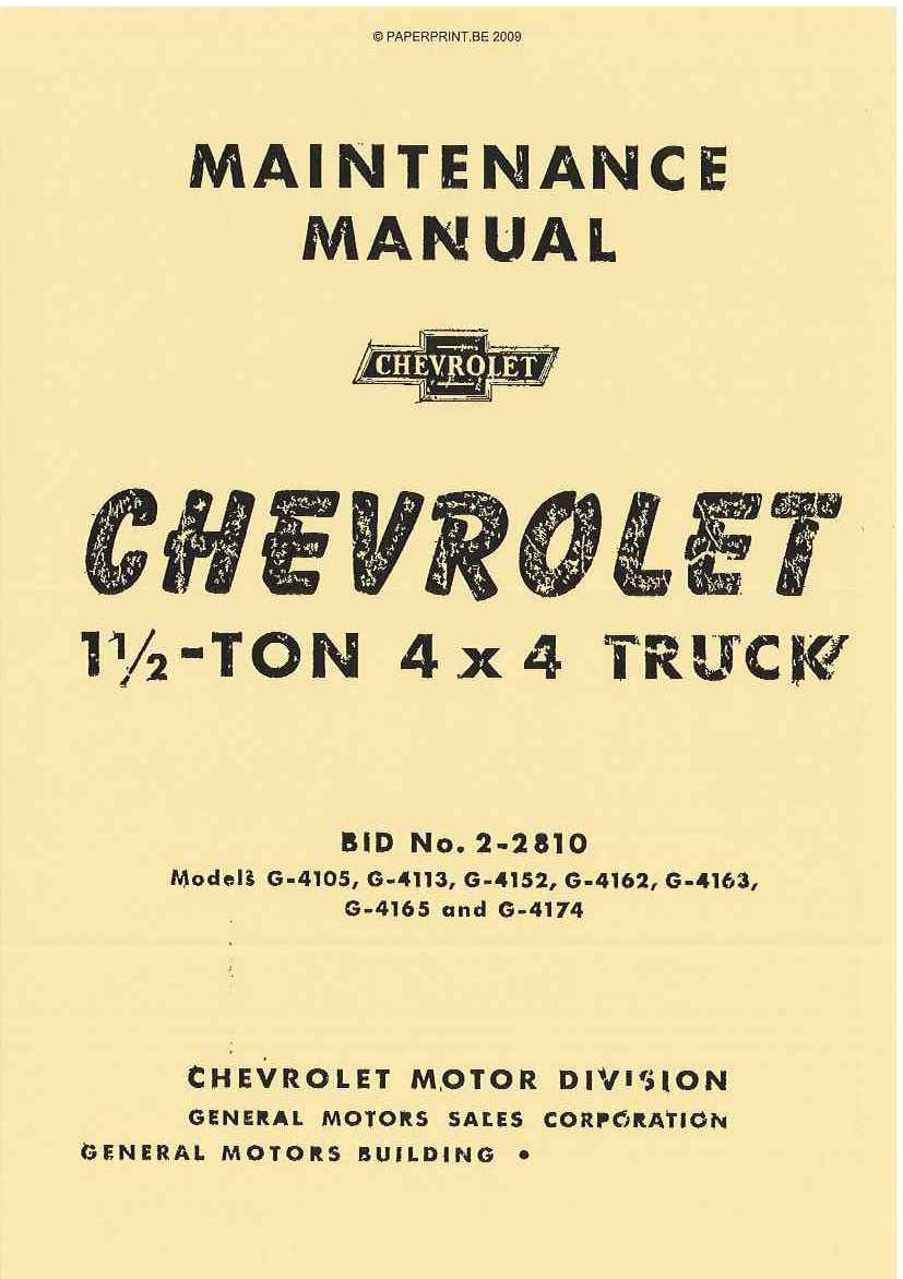 TM 10-1431 US CHEVROLET<br/> 1½-TON 4x4 TRUCK MAINTENANCE MANUAL
