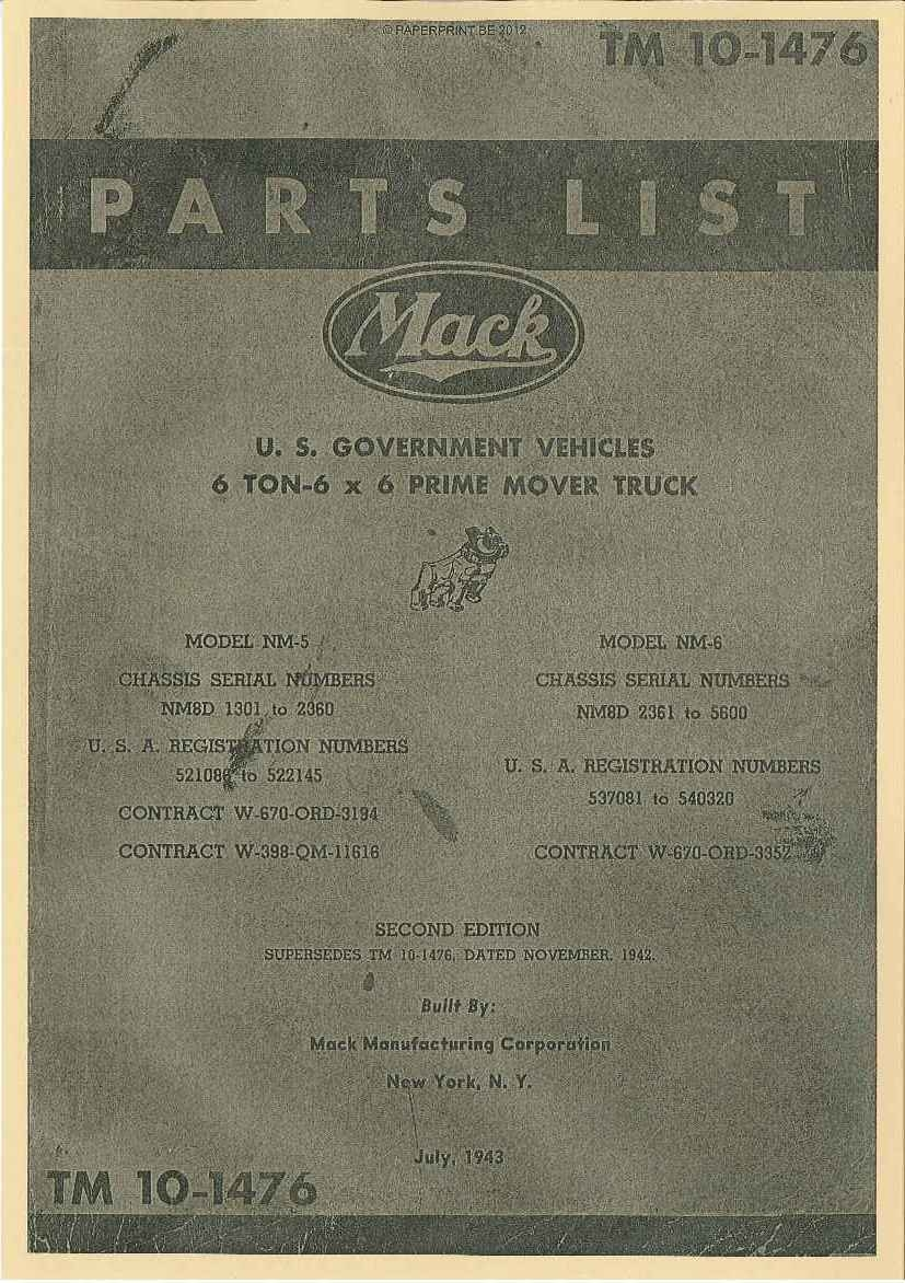 TM 10-1476 US MACK NM PARTS LIST