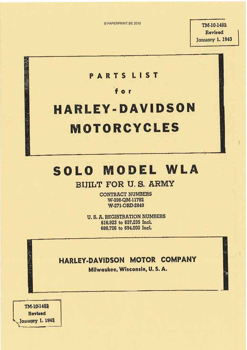 TM 10-1482 US PARTS LIST  FOR HARLEY-DAVIDSON MOTORCYCLES SOLO MODEL WLA