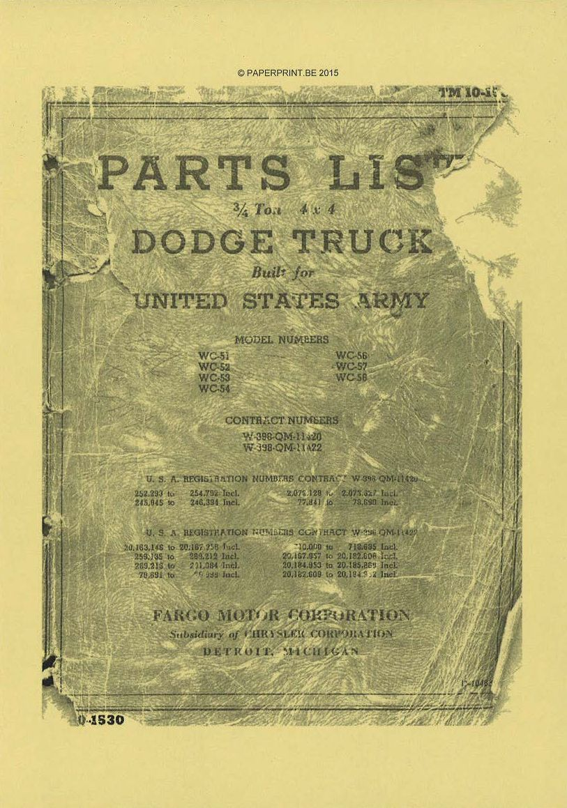 TM 10-1530 US PARTS LIST ¾ TON 4x4 DODGE TRUCKS