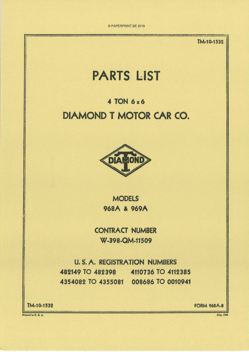 TM 10-1532 US DIAMOND T 968A & 969A PARTS LIST