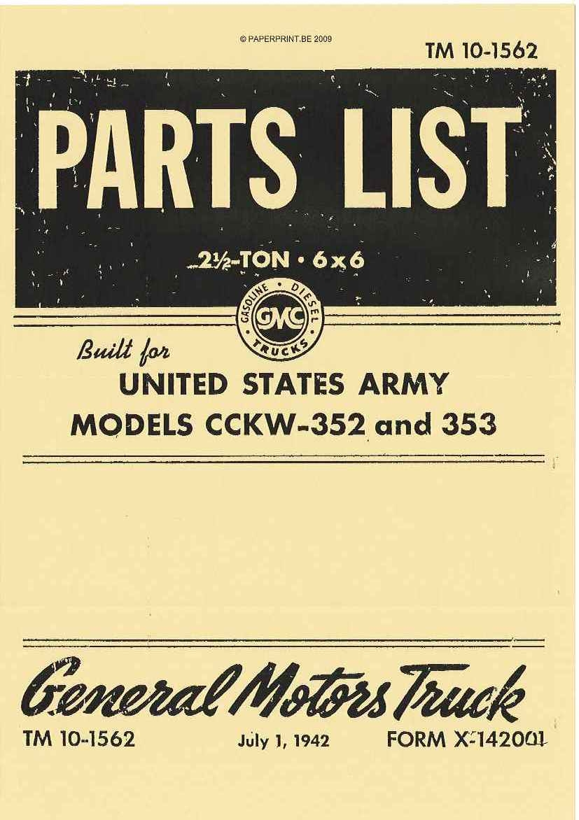 TM 10-1562 US PARTS LIST FOR MODELS CCKW-352 AND 352