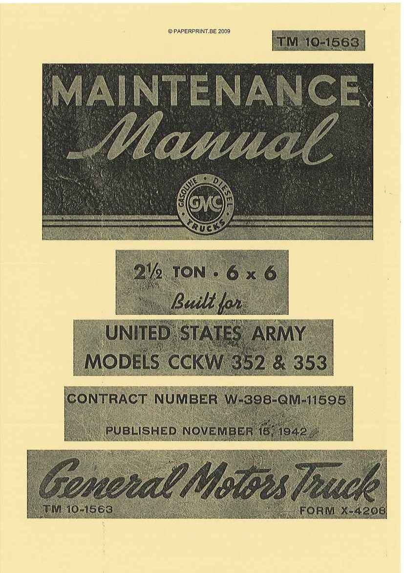 TM 10-1563 US MODELS CCKW 352 & 353