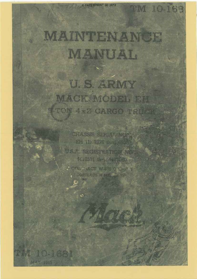 TM 10-1681 US MACK EH MAINTENANCE MANUAL