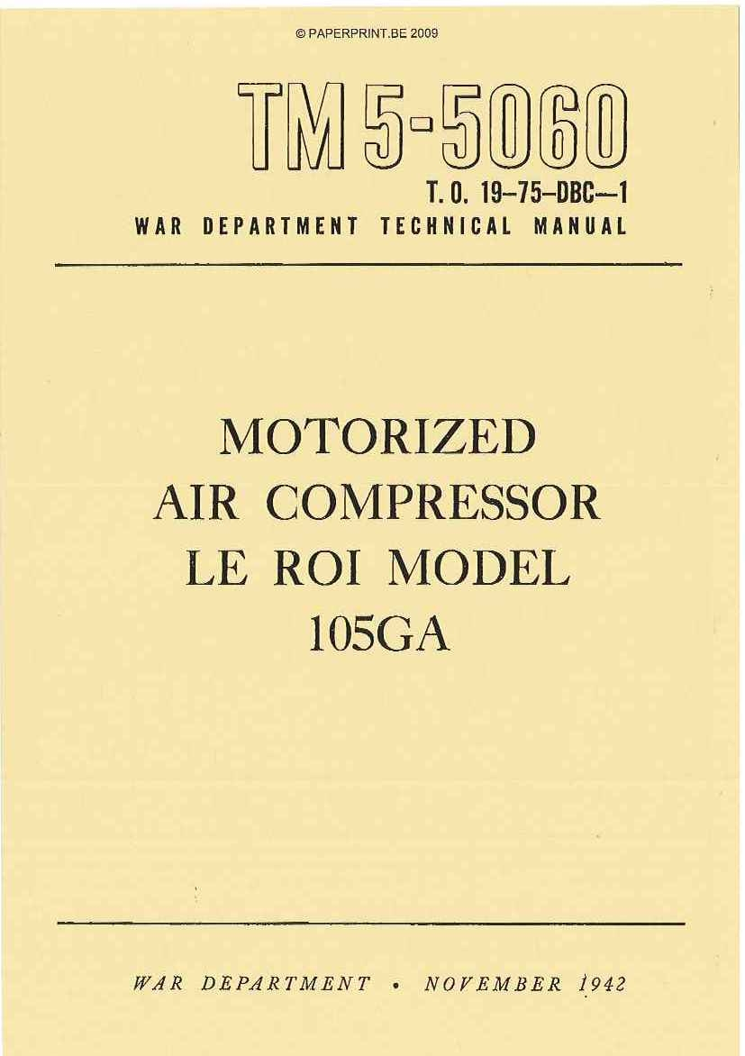 TM 5-5060 US LE ROI MODEL 105GA AIR COMPRESSOR