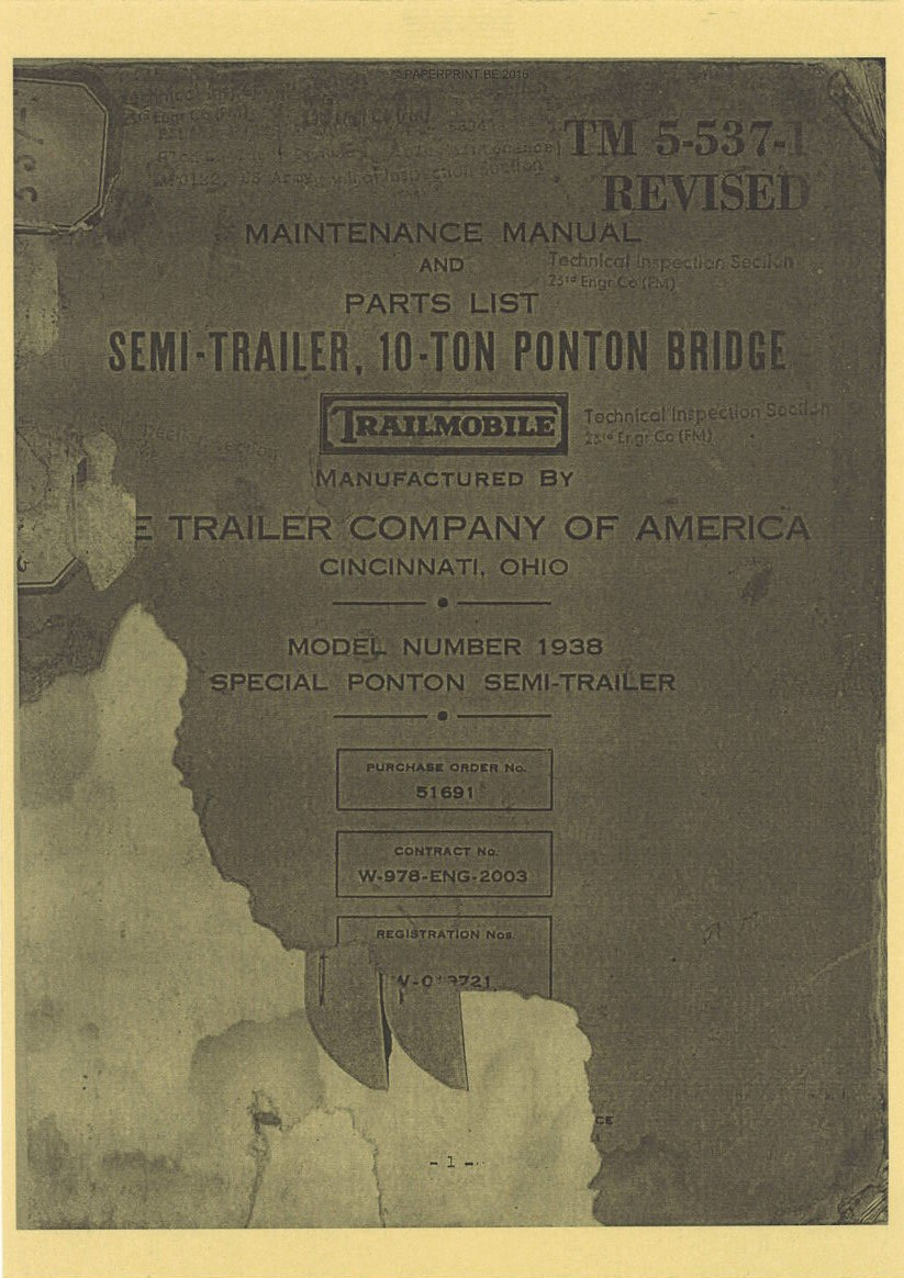 TM 5-537-1 US SEMI-TRAILER 10-TON PONTON BRIDGE