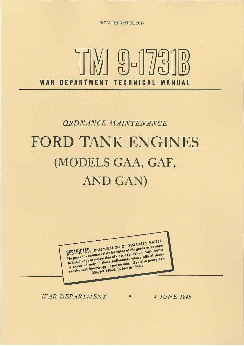 TM 9-1731B US FORD TANK ENGINES (MODELS GAA, GAF AND GAN