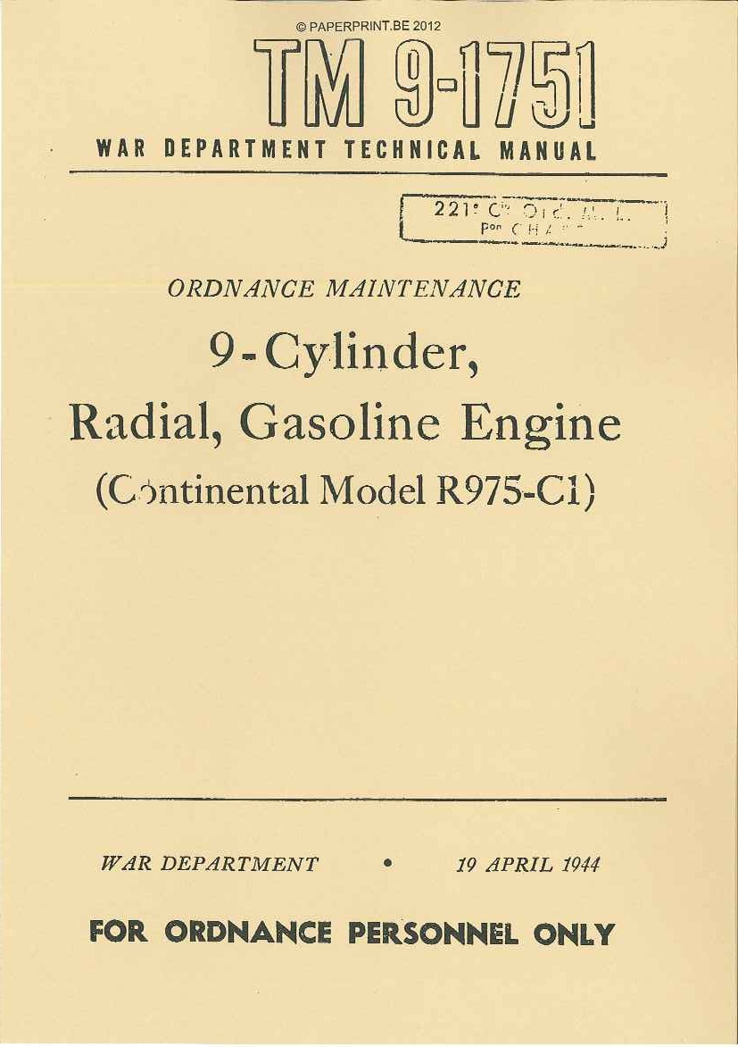 TM 9-1751 US CONTINENTAL MODEL R975-C1 ENGINE