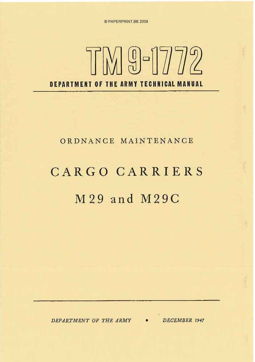 TM 9-1772 US CARGO CARRIERS M29 AND M29C