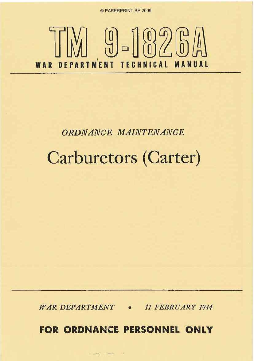 TM 9-1826A US CARBURETORS (CARTER)