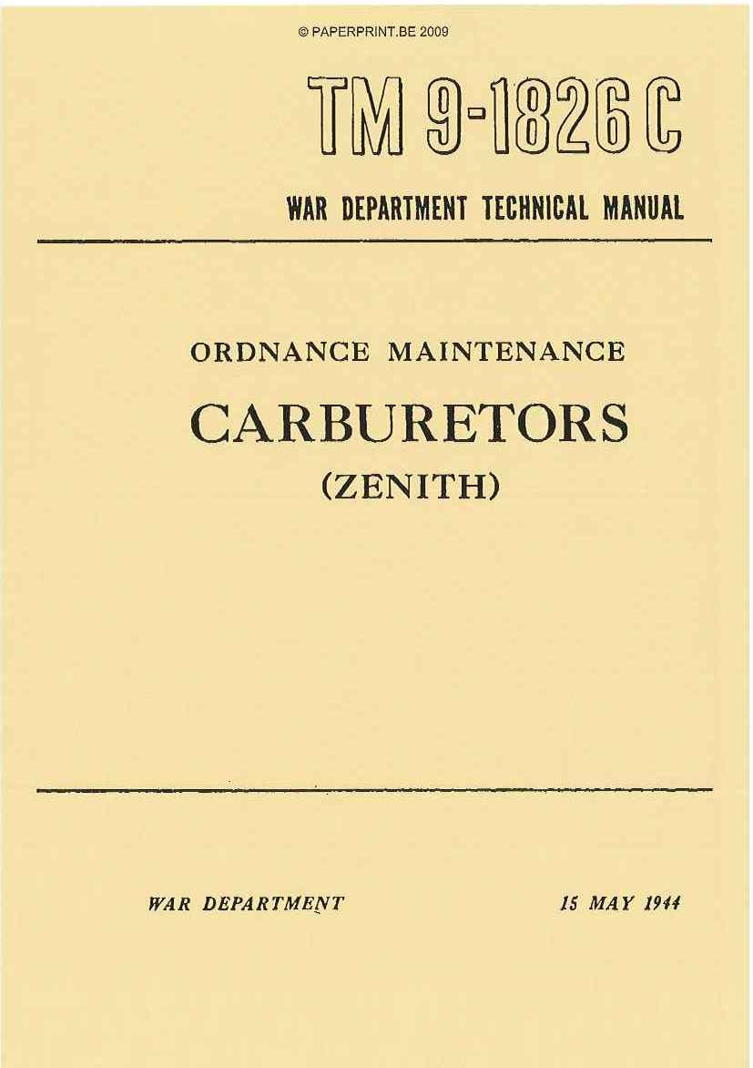 TM 9-1826C US CARBURETORS (ZENITH)