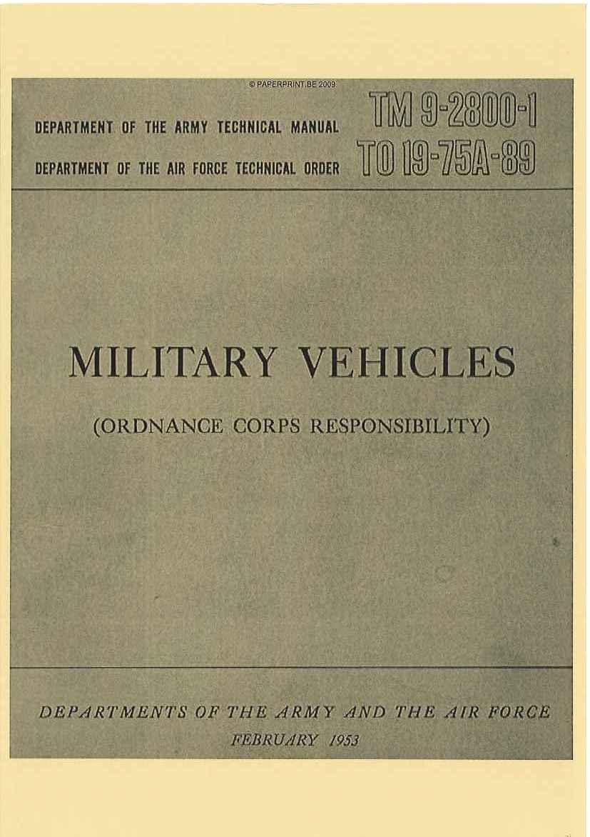 TM 9-2800-1 1953 MILITARY VEHICLES