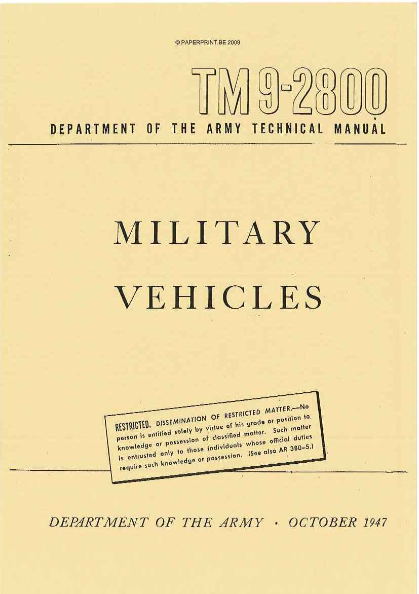 TM 9-2800 1947 US MILITARY VEHICLES