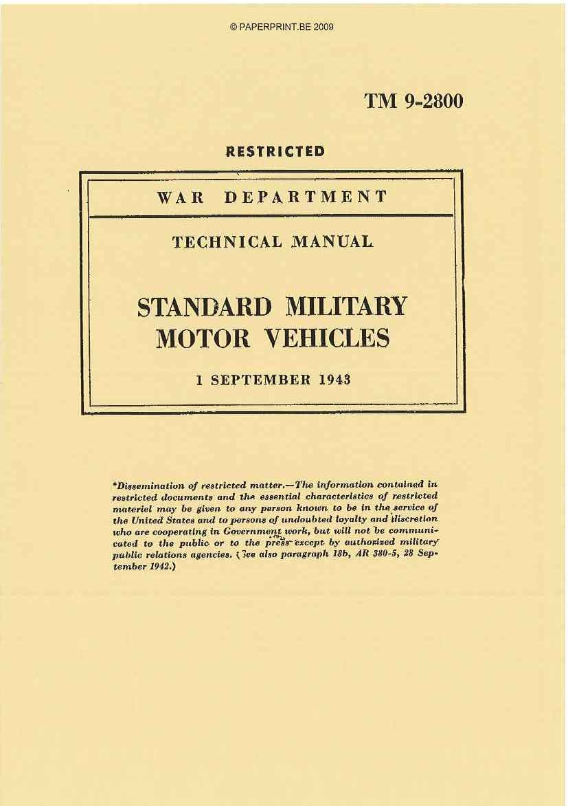 TM 9-2800 1943 US STANDARD MILITARY MOTOR VEHICLES