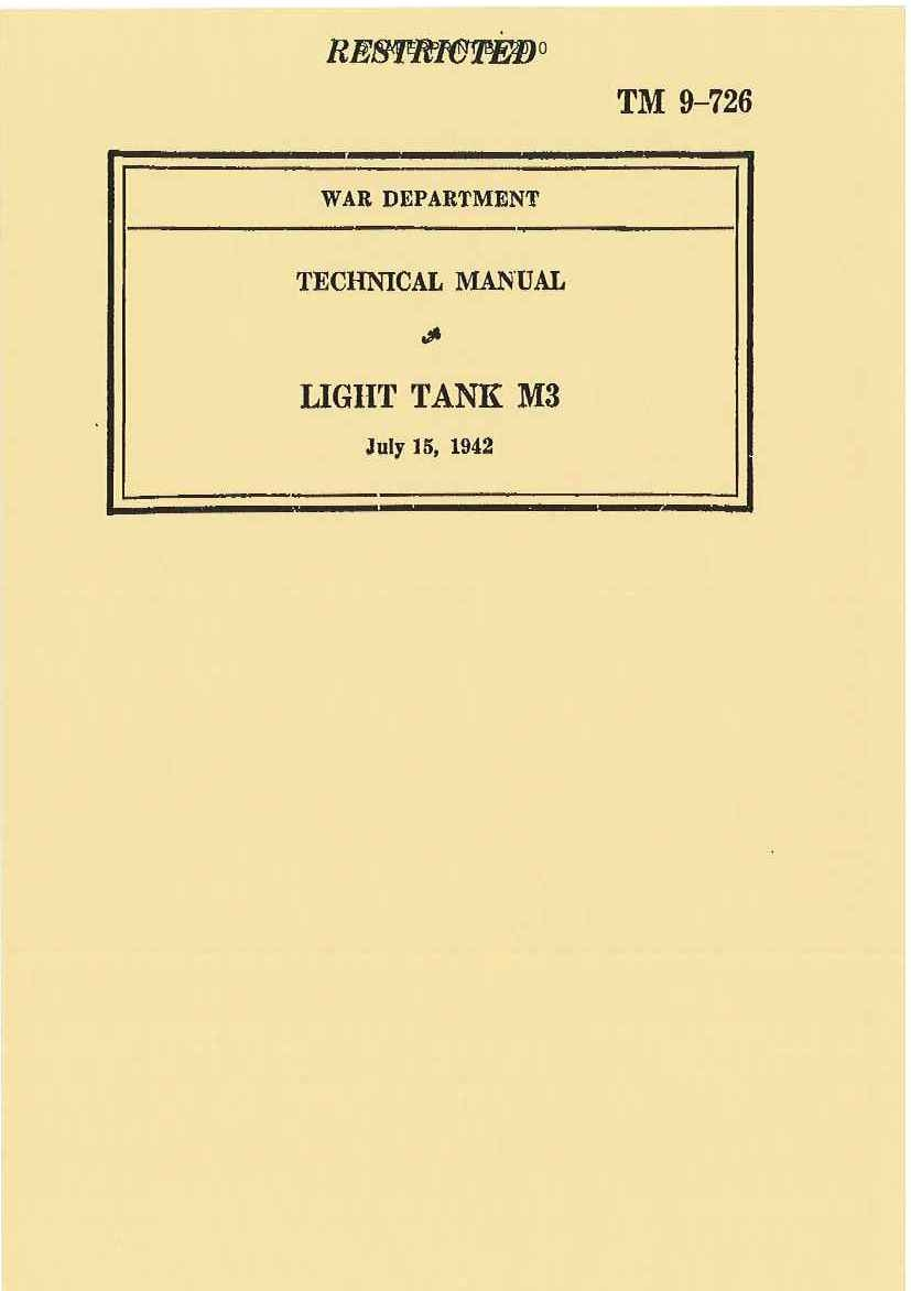 TM 9-726 US LIGHT TANK M3