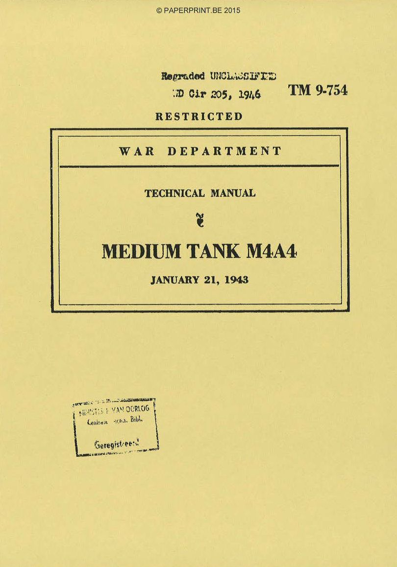TM 9-754 US MEDIUM TANK M4A4 MANUAL