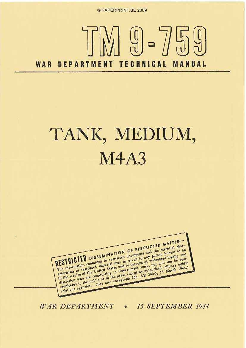 TM 9-759 US TANK, MEDIUM, M4A3