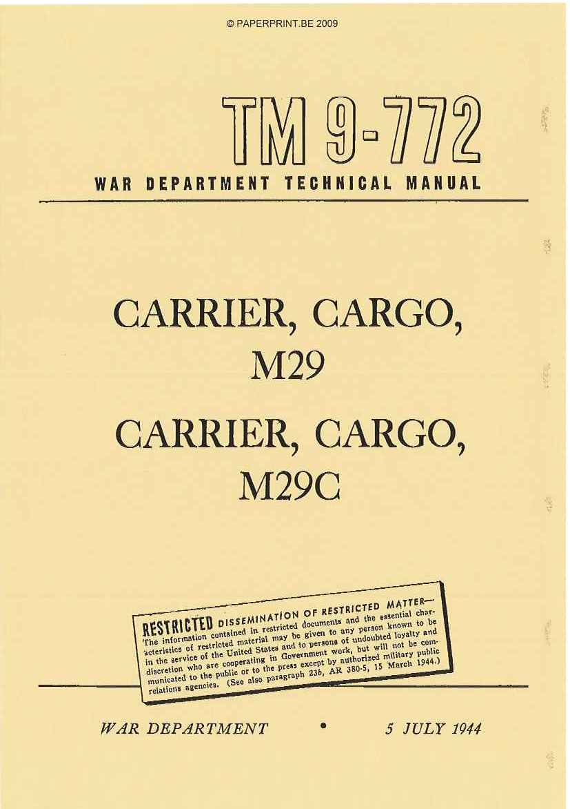 TM 9-772 US CARRIER, CARGO, M29 AND M29C