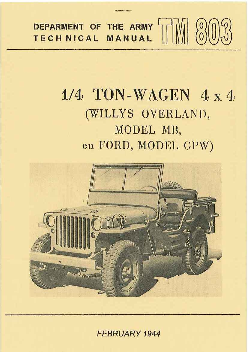 TM 9-803 NL ¼ TON - WAGEN 4x4 (WILLYS-OVERLAND MB EN FORD GPW)