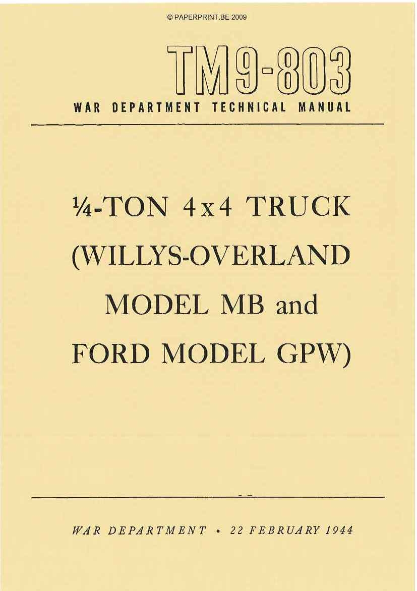 TM 9-803 US ¼ TON 4x4 TRUCK (WILLYS-OVERLAND MB AND FORD GPW)